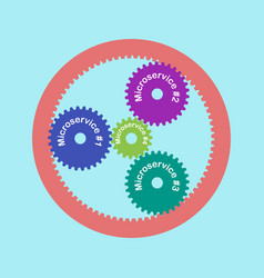Microservice arch ill color planetary gears vector