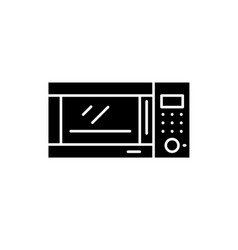 microwave oven black icon sign on isolated vector image