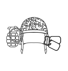 Military helmet grenade and dog tag plate black vector