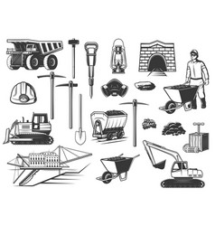Miner helmet pickaxe and mining equipment icons vector
