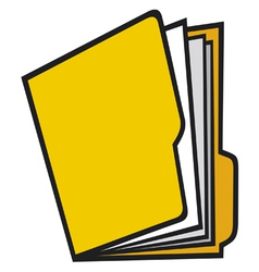 Open folder with paper vector