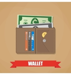 Opened wallet with cash vector image vector image