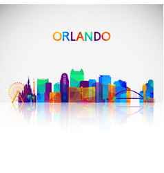 Orlando skyline silhouette in colorful geometric vector