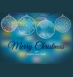 Ornament on a blue backgrounds christmas balls vector