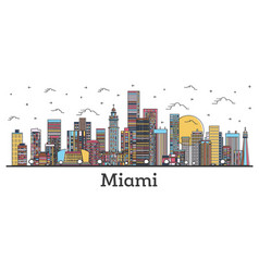 Outline miami florida city skyline with color vector