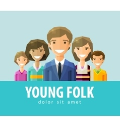 people young folk logo design template vector image