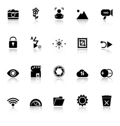 Photography sign icons with reflect on white vector