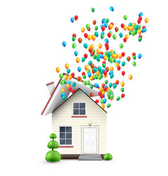 Realistic house with colorful balloons vector