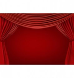 Red curtains on background vector
