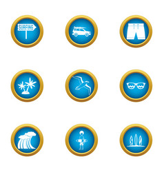 rest on the wave icons set flat style vector image