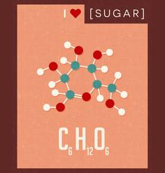 Retro poster simple sugar molecule vector