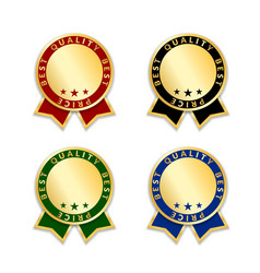Ribbon award best price labels set gold ribbons vector