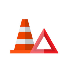 road emergency signs warning triangle traffic vector image
