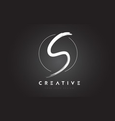 s brush letter logo design artistic handwritten vector image