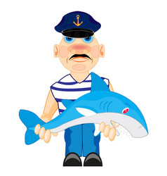 sailor with caughted by shark vector image