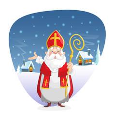 Saint nicholas standing in front winter backgro vector