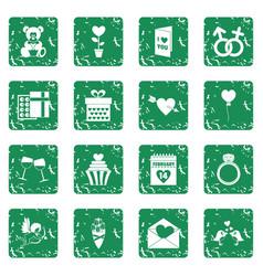 Saint valentine icons set grunge vector