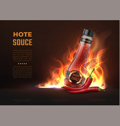 Sauce ad realistic 3d glass bottle with hot spicy vector