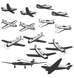set aircraft icons isolated on white vector image