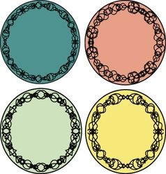 Set of round vintage lacy frames templates vector