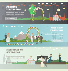 Set of wedding horizontal banners in flat vector