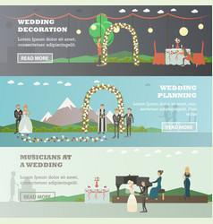 Set wedding horizontal banners in flat vector