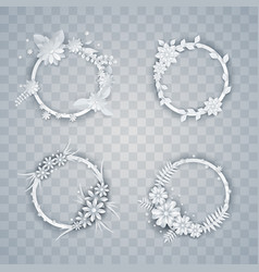 set white paper flowers and leaves wreaths vector image