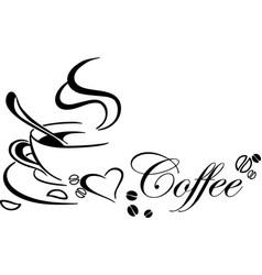 Signature hot coffee logo sign silhouette design vector