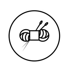skein yarn and knitting needles icon editable vector image