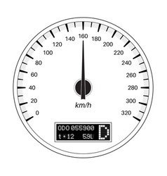 Speedometer 160 km per hour outline flat vector