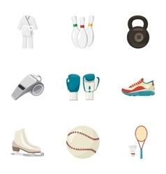Sports stuff icons set cartoon style vector