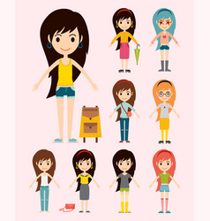 Street fashion girls models wear style fashionable vector