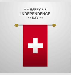 Switzerland independence day hanging flag vector