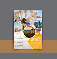 Travel flyer template design vector