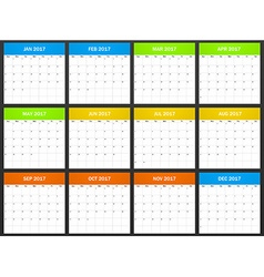 USA Planner blank for 2017 Scheduler agenda or vector