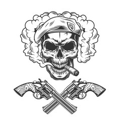 vintage monochrome soldier skull wearing beret vector image