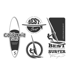 Vintage surfing labels vector image