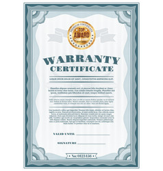 Warranty certificate with top award gold seal vector