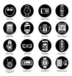 Wearable Technology Icons Black vector image