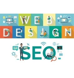 Web Design SEO Concept Flat Style Design vector image vector image