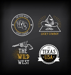 Wild west badges design Vintage western elements vector