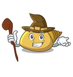 Witch mollusk shell mascot cartoon vector