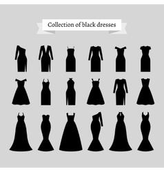 Black retro dresses silhouettes vector image vector image