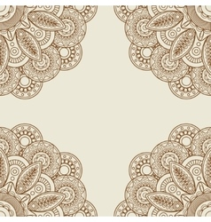 Doodle boho floral henna tattoo frame vector image vector image