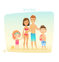 family on the beach vector image vector image