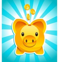 golden piggy bank vector image vector image