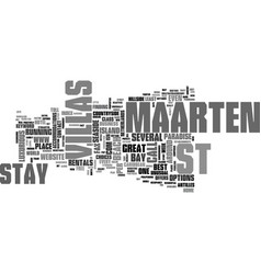 Where to stay in st maarten text word cloud vector
