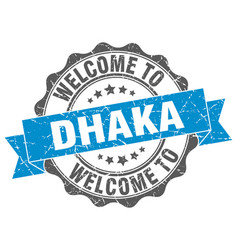 dhaka round ribbon seal vector image vector image