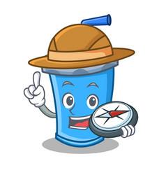 Explorer soda drink character cartoon vector