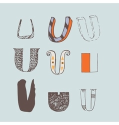 Set of colorful alphabet letters u vector